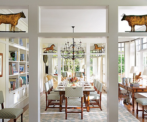 A Bright, Happy And Cheerful More Casual Dining Room As Seen In  Architectural Digest (notice The Books  Makes Me Feel Inviting And Like A  Room You Are More ...