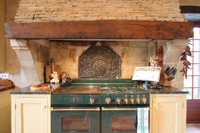 Green French Range Looks Mighty Pretty In This Old Kitchen, Love The Old  Brick And Timber Hood!