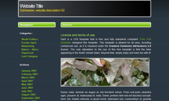 Free CSS Dark Blue Fresh Green Template