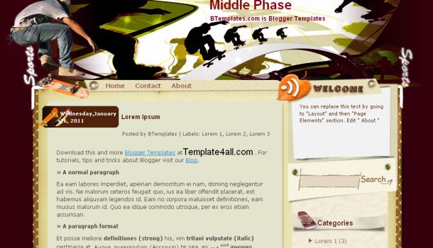 Phase Brown Sports Grunge Blogger Template
