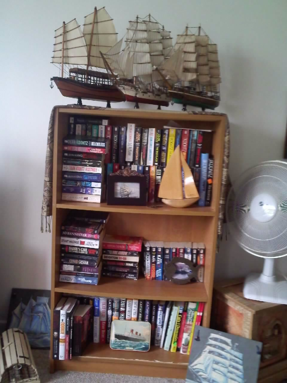 First Is Greg's Bookcase  To Be Replaced With A Much Nicer Bookcase In The  Near Future Top Two Shelves Are His Dean Koontz And Alex Kava Collections