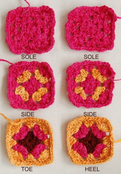 Crochet Pattern For Granny Square Slippers : CROCHET GRANNY SQUARE SLIPPERS - Crochet ? Learn How to ...