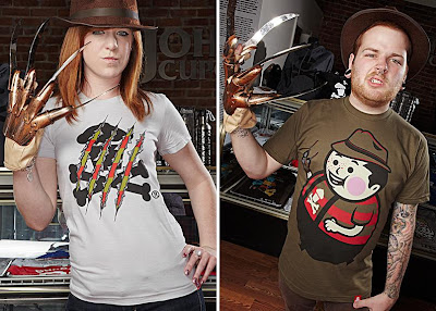 A Nightmare on Elm Street Inspired Johnny Cupcakes T-Shirts - Freddy Crossbones T-Shirt and Big Kid Freddy T-Shirt