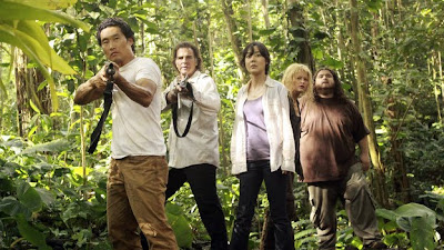 Lost - The Candidate - Daniel Dae Kim as Jin Kwon, Jeff Fahey as Frank Lapidus, Yunjin Kim as Sun Kwon, Emilie de Ravin as Claire Littleton & Jorge Garcia as Hugo 'Hurley' Reyes
