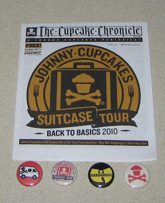 The Johnny Cupcakes Suitecase Tour Cupcake Chronicle and Tour Exclusive Buttons