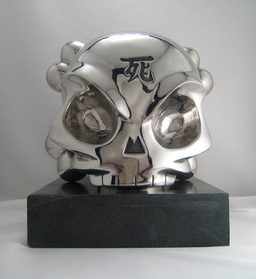 Fully Visual x Huck Gee Life Size Stainless Steel Skullhead Sculpture
