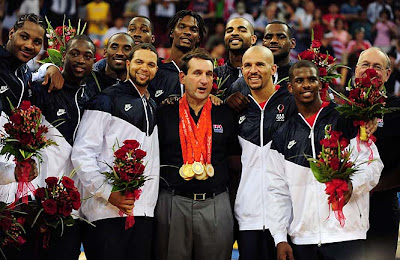 The USA Men's Basketball Olympic Team with Head Coach Mike Krzyzewski Celebrating Their Winning of Olympic Gold