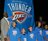 Oklahoma City Thunder Players Damien Wilkins and Desmond Mason Unveil the Team's New Name, Logo and Colors