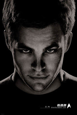 Star Trek Black and White Character Movie Posters - Chris Pine as James T. Kirk