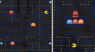 Pac-Man Arcade Hoodie Front and Back Graphic Close-Ups