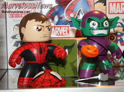 Marvel Legends Mighty Muggs - Unmasked Spider-Man with a Removable Cloth Spider-Man Mask and the Green Goblin Mighty Muggs
