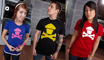 Johnny Cupcakes - Fuchsia, Yellow & White on Red Cupcake & Crossbones T-Shirts