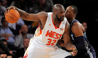 2009 NBA All Star Game - Shaq Backing Down Dwight Howard