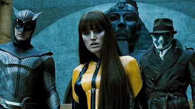 Watchmen - Patrick Wilson as Nite Owl II, Malin Akerman as Silk Spectre II and Jackie Earle Haley as Rorschach