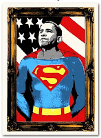 Obama Superman Print by Mr. Brainwash
