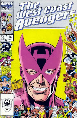 The West Coast Avengers Issue Number 14 - Marvel Comics 25th Anniversary Cover Artwork featuring Hawkeye