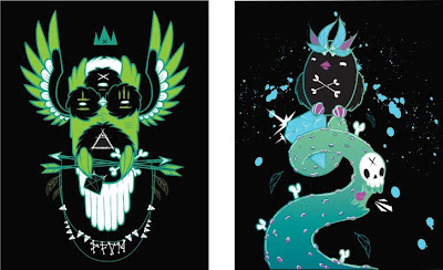 Silent Stage Gallery - Lightsleeper Owl Minty & Greedy Tounge Bastard Print Set by Peekaboo Monster
