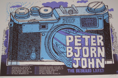 Peter Bjorn & John Tour 2007 Concert Poster by Methane Studios (Robert Lee)