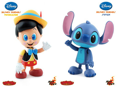 Disney Friends 3 Inch Cosbaby Viny Figures by Hot Toys - Pinocchio and Stitch