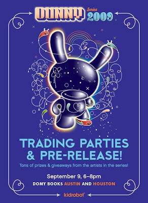Kidrobot Dunny Series 2009 Pre-Release Party at Domy Books in Houston and Austin, TX Ad