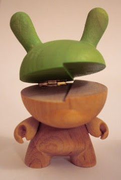 Kidrobot Dunny Series 2009 Chase Wood Dunny Variants by Travis Cain - Hinge Head Wood Dunny
