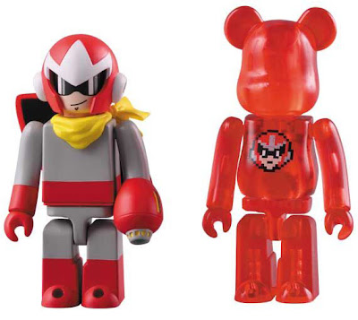 Mega Man 100% Kubrick & Be@rbrick Vinyl Figure Sets - Proto Man Kubrick and 1 UP Be@rbrick