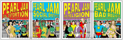 Pearl Jam - October 27, 28, 30, 31, 2009 - The Spectrum - Philadelphia, PA Concert Poster Set by Tom Tomorrow