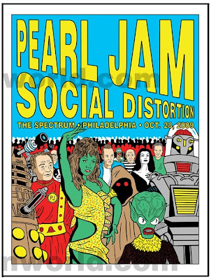 Pearl Jam - October 28, 2009 - The Spectrum - Philadelphia, PA Concert Poster by Tom Tomorrow