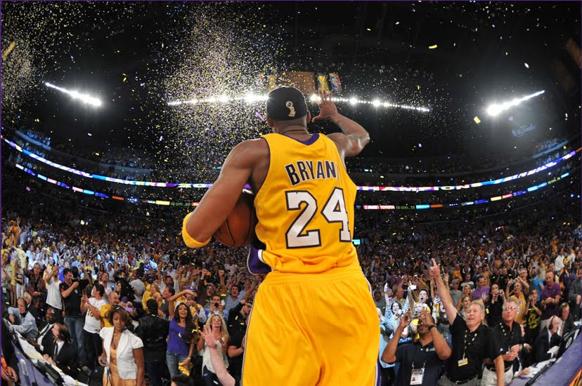 2010 nba champion la lakers kobe bryant celebrating his fifth nba