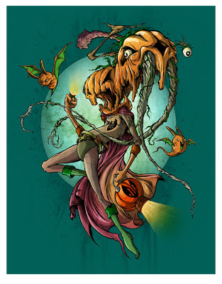 The Orange Lantern Print by Alex Pardee & Greg 'Craola' Simkins