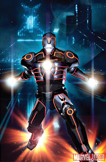 Marvel Comics - Invincible Iron Man #33 TRON Legacy Variant Cover featuring Iron Man by Brandon Peterson