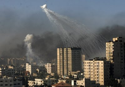 white phosphorus bombs dropped by IDF over gaza