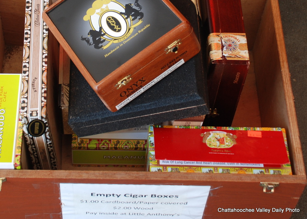 Chattahoochee valley daily cigar boxes for sale for Cardboard cigar box crafts