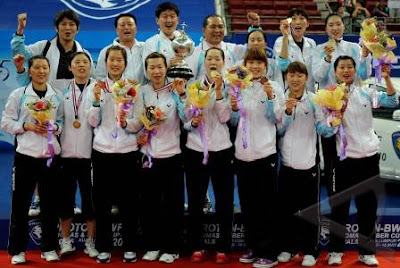 Juara Piala Uber 2010 ialah Korea Selatan