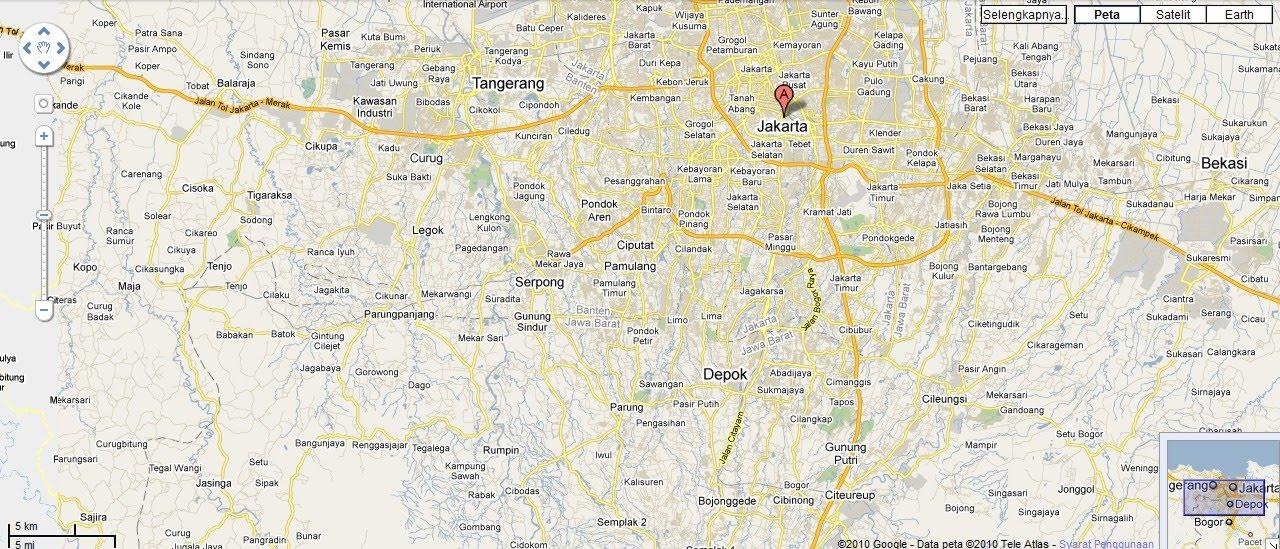 Peta Jakarta yang diambil dari Google Map .