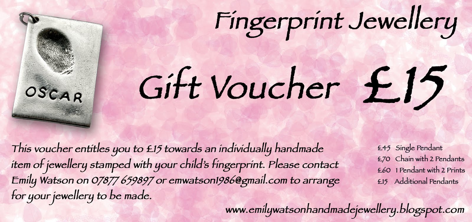 emily watson handmade jewellery  gift vouchers now available