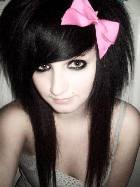 layered hairstyle black pink