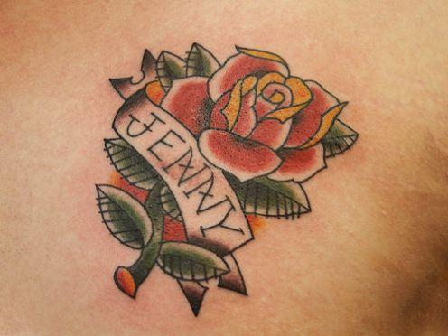 Name tattoo design arrive inside