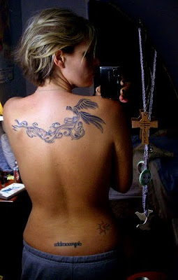 Japanese Bird and Flower Tattoo Design on Back Girl