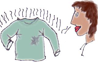 woman sniffing dirty sweatshirt