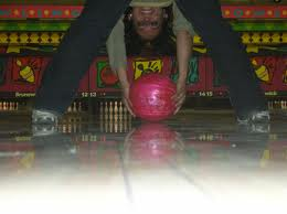Father and daughter activities: Bowling - reverse Granny throw