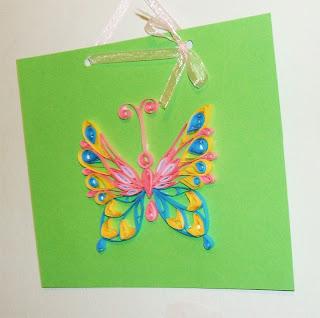 hand made, картичка квилинг пеперуда