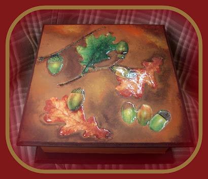 caja de te hojas de otoño