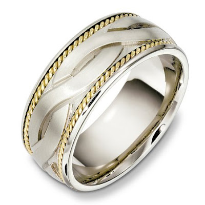 two tone wedding rings Wedding Rings Two Tone Gold And Platinum With Rope