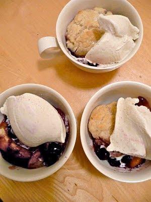 dinner party: peach-blueberry cobbler