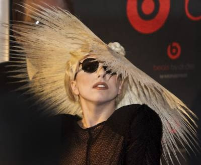 Lady Gaga in a big hat