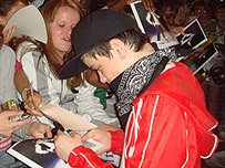 George Sampson with fans