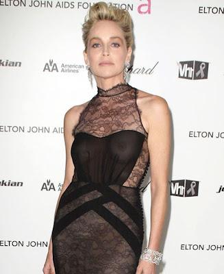 Sharon Stone see through top
