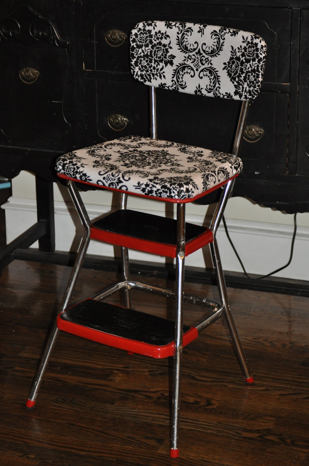 red kitchen stools Cassandra Design: Classic Red Kitchen Chair/Step Stool