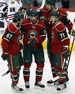 Minnesota Wild Players confering on the ice
